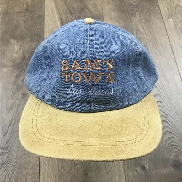 Other - Sam's Town Las Vegas Denim Suede Strapback Dad Hat